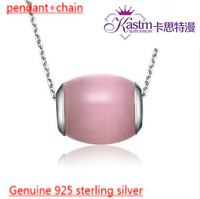 Kastm brand genuine 925 sterling silver pink cat's eye opal drip pendant necklace free shipping wholesale jewelry  ksn018