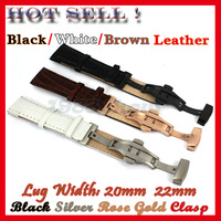 10 pcs New 20mm 22mm Black White Brown Genuine Leather Strap Cowhide Watch Band Butterfly Clasp Multi Color Matching