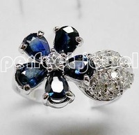 Sapphire ring Free shipping Perfect jewelry Natural Sapphire 100% 925 silver plated 18k white gold ring , blue flower style ring