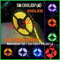 High Quality New RGB Led Strip Light Waterproof 5M SMD 5050 300 LEDs/Roll + 44 keys IR Remote Controller