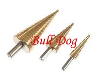 Free Shippping3pcs/set HSS Step Drill Bit Set 4241 Steel Titanium Coated Step Drill Bit Set --Metric Size 4-32mm, 4-20mm, 4-12mm