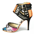 Design real leather python pattern color block high heel sandals evening party club pub shoes