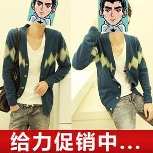 2012 men's clothing lingjiao sweater outerwear cardigan V-neck yarn shirt male sweater(China (Mainland))