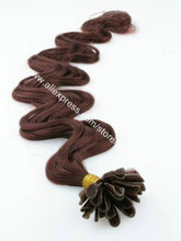 100% Indian Remy Hair #33 Dark Auburn Body Wavy Pre-bonded Nail-tip Hair Extension 100s/lot(China (Mainland))
