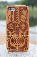 New arraival skull design natural wood case for iphone5 with retail packing 5pcs/lot