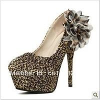 2012 free shipping Journal of han star fashion bought flowers leopard grain 14 cm HIGH HEELS spike women's shoes