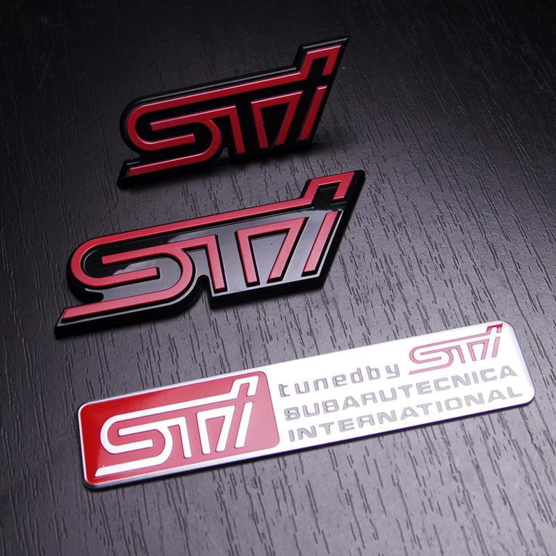 Free Shipping SUBARU sti in net alias three-dimensional emblem metal emblem one set(China (Mainland))