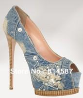 Fashion blue jean lace peep-toe women High Heels pumps +dropshiping