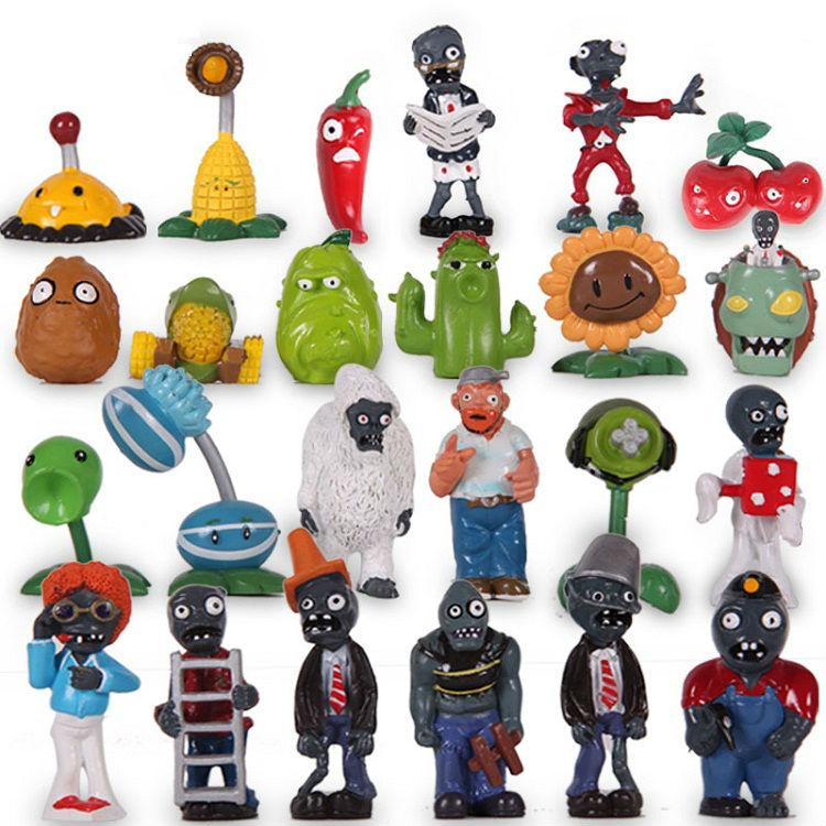 Hot Games toys Plants vs Zombies figure sets crazy party version 24pcs