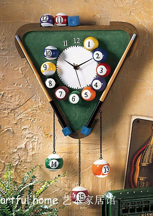 Free shipping the snooker wall clock desk lamp telephone individualized fashion boy gift watch the clock(China (Mainland))