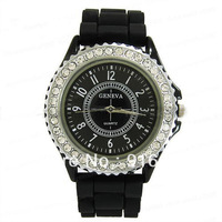 Multy colors womens crystal jelly silicone watch wristwatches free shipping