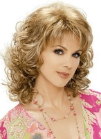 Cool blonde & brown mixed curly cosplay wig +gift 306