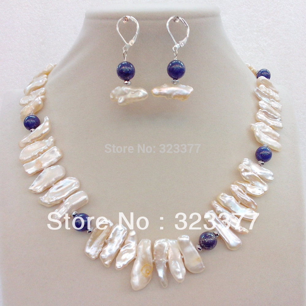 Free shipping! Tooth shaped white freshwater pearl and lapis lazuli set !(China (Mainland))