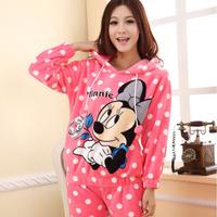 Winter women's coral fleece sleepwear pajamas sets cartoon MICKEY MOUSE long-sleeve thickening with a hood female lounge set