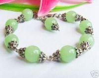Tibetan Silver Green Jade Jewelry Bracelet