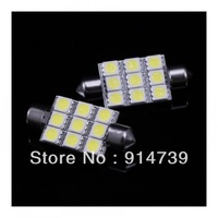 Free shipping 30pcs White Auto Light Interior 39MM 9 SMD 5050 LED Dome Door bulb car LED light lamp