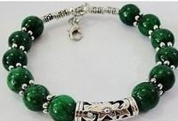 Handicraft Beautiful Tibet Silver green jade Jewelry bracelet