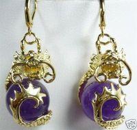 Attractive purple jade dragon Jewelry Earrings