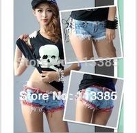 free Shipping/ 2014 Spring And Summer Shorts Hot-selling 1961 Low-waist Bandage Edging Denim Super Shorts,fashion Women Jeans