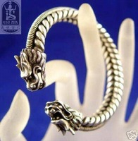 Chinese Silver Bracelet Carved Two Dragon