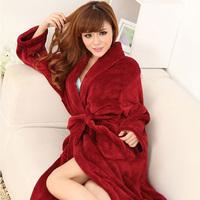 Medium-long solid color sexy flannel sleepwear female robe bathrobes winter lounge women men pajamas