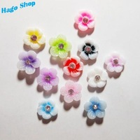 New Arrival 12 colors  Nail Art Flower 11mm Resin Plum Flower with Crystal Shimmering Powder 3D Nail Tips Decoration