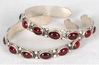 A Pair Handmade Rare Tibet Silver inlay Garnet Bracelet