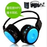 Free shipping Bass mp3 headset wireless card earphones mobile phone computer earphones sd tf card