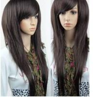 2012 charming long Straight black/brown/Dark brown/womens cosplay wig