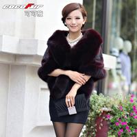 Cocoa fur coat 2012 fox fur mink fur cape cj11 Free Shipping