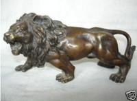 Exquisite Tibet bronze lion statue