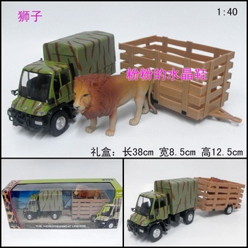 Free shipping. Alloy car model toy car transport vehicle car lion gift box