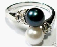 Charming black white shell pearl women's ring size:8#