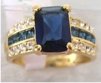 Genuine blue Tourmaline Tanzanite Gild Ring 7#8#9#