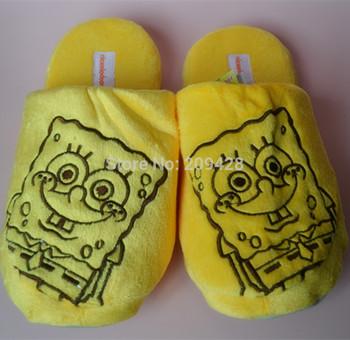 "Free shipping,10"" Spongebob Squarepants plush soft warm cute comfortable slippers"