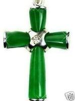 Beautiful Green Jade Cross Pendant Necklace