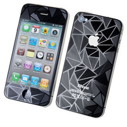 3D Diamond Effect Clear Design Screen Protector Front Back for iPhone4 4S 4G, Free &amp; Drop Shipping(China (Mainland))