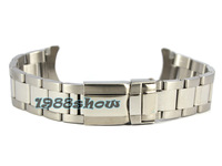 New 20mm Solid Polished & Brushed Bracelets Strap Stainless Steel Watch Band Double Lock Clasp Curved End SS18