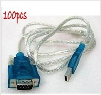 Free Express shipping,100pcs USB to RS232 Serial DB9 COM Cable Adapter HL340