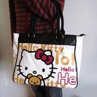 2013 New Fashion Free Shipping White Hello Kitty Pu Zipper Schoolbag tote bag handbag shoulder Size(42cm*28.5cm*10cm)