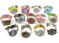 Free Shipping Zinc Alloy PU Leather Watch, zinc alloy watch dial & PU leather watch band, Length:approx 9 Inch, 10Strands/Lot