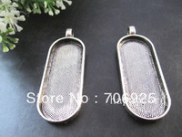 Free shipping Wholesale  18mm x45mm Antique silver and bronze Oval Cabochon Pendant Base  20pcs/lot