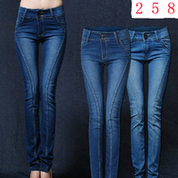 free shipping new fashion trend elastic slim pencil pants skinny women's jeans trousers 2 colors