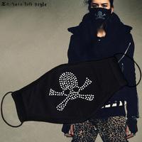 Zls quality skull rhinestones 100% cotton full black three-dimensional masks mmj rhinestone autumn and winter