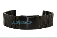 New 18mm ~ 26mm Black Solid Stainless Steel Watch Band Stainless Steel Strap Bracelets SS22