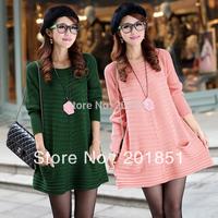 FreeShipping[Wholesale&Retail]100% Brand New 2014 Winter Ladies Wool+Cotton Long Design Sweater Dress Basic Shirt Plus Size