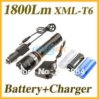 1800Lm Cree XML-T6 LED 3-Mode Zoomable Aluminum Alloy Flashlight Torch Black + 2x 18650 2400mAh battery + 1x AC Charger