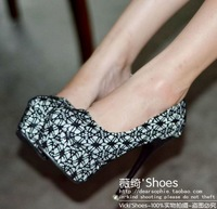 2013 new arrival spring high quality high heel shoes women sexy platform lace pumps shoes , party wedding boots