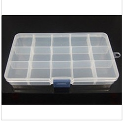 Adjustable 15 Compartment Plastic Storage Box Jewelry Earring Tool Container(China (Mainland))