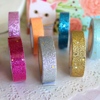 Freeshipping! New Colorful glitter fabric tape/good quality tinselled stick Adhesive Tape/wedding tape/wholesale